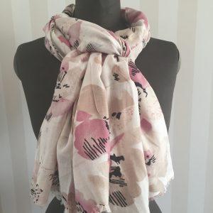 Rosa blommig sjal